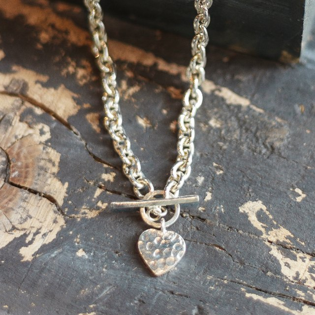 Hammered heart on t bar necklace - small