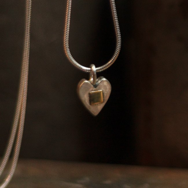 Hammered hearts with gold pendant-small